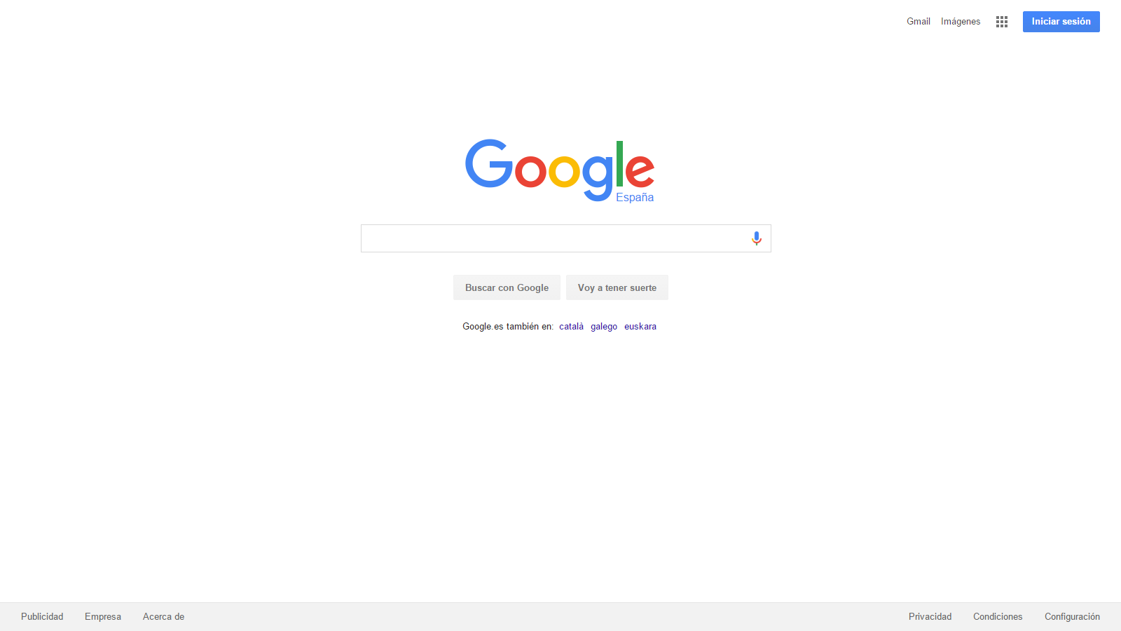 Sitio web de Google original